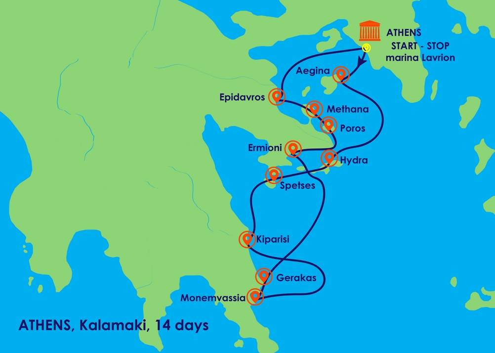 Greece Sailing Routes: Starting from Athens   Greece Yacht